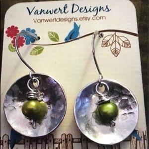 Hammered with a Pearl handmade earrings